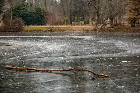 Frozen pond in winter