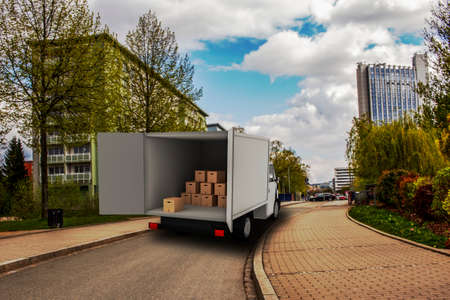 Delivery truck is loaded or unloaded Stock Photo