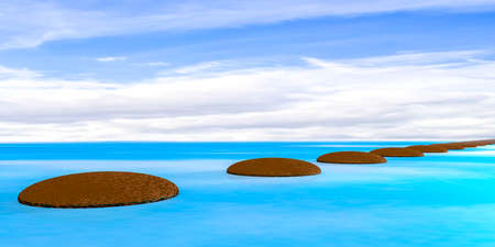 Stones in the water, 3D illustration  Stock Photo