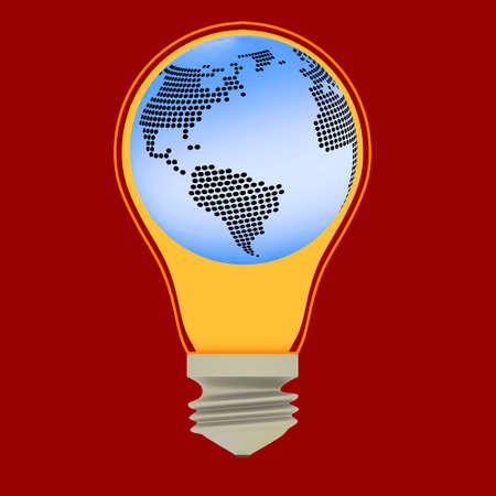 Lightbulb with globe, 3-Illustration  Stock Photo