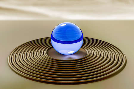 Glass ball in the sand, 3D illustration  Stock Photo
