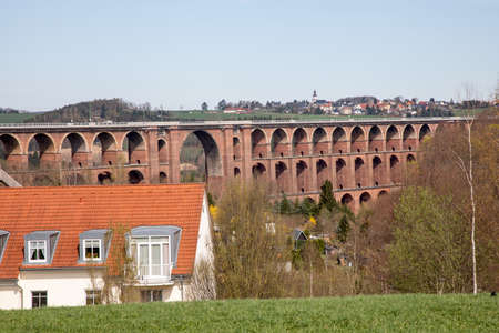 Göltzschtal bridge from Mylau in the Vogtland  Stock Photo