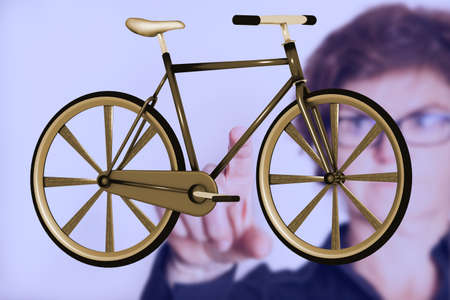 Bicycle with person in the background