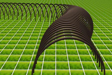 Lattice tunnel on floor tile, 3d illustration  Stock Photo