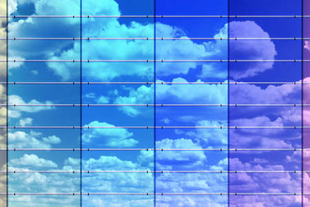 Colored wall surface with sky reflection, 3d illustration  Stock Photo