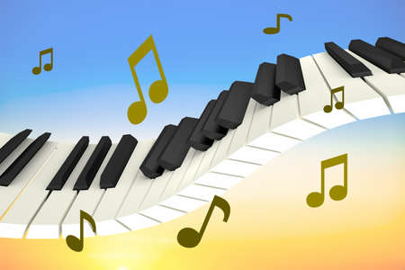 Levitating piano keyboard with notes, 3D illustration