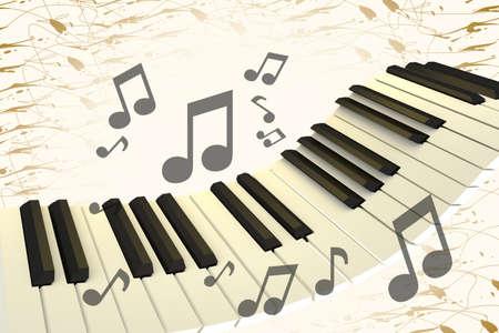 Teclado de piano levitando con notas, ilustración 3D
