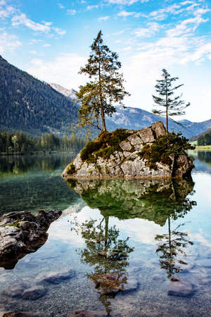 Lake Hintersee in the Bavarian Alps near Berchtesgaden Stock Photo