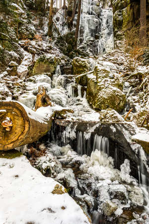 Frozen waterfall in the Erzgebirge