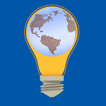 Lightbulb with globe, 3-Illustration