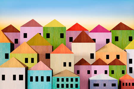Simple city with colorful houses, 3d illustration