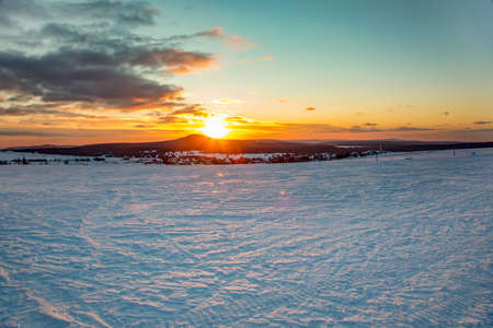 Snow landscape with sunset Stock Photo