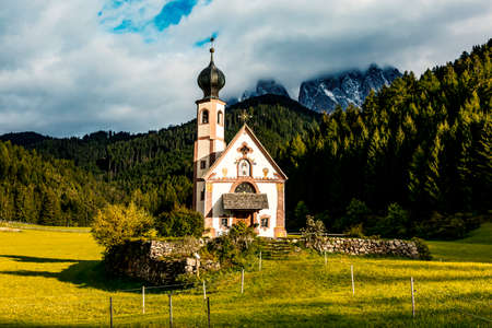 The church St. Johann in Ranui in the Villnoess Stock Photo