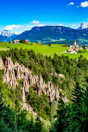 Earth pyramids of Ritten in South Tyrol Stock Photo