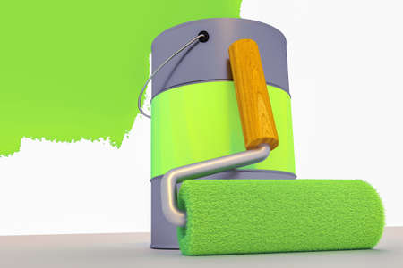 Paint roller with paint bucket, 3d-Illustration Stockfoto