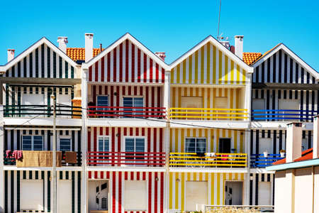 Colorful striped house facades in Portugal Stock Photo