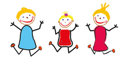 Exited jumping kids, illustration