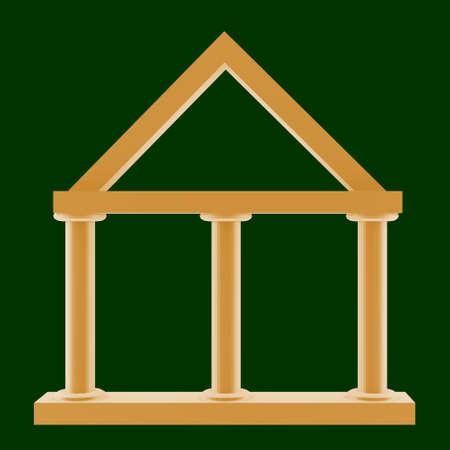 Three pillared buildings, 3d-Illustration Stock Photo