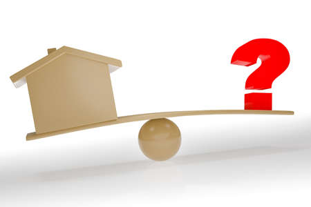 House and question mark on the seesaw, 3D illustration Stock fotó