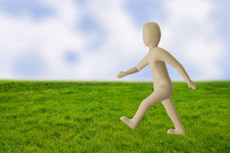 Fast-moving character, 3D illustration Stock fotó