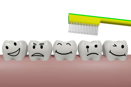 Teeth with smiley face and toothbrush, 3D illustration