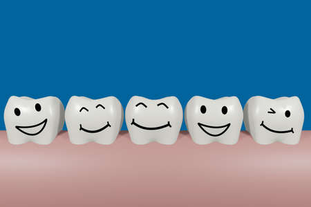 Teeth with smiley face, 3D illustration Stock fotó