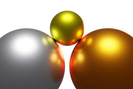 Three colorful balls, 3D illustration Stock fotó