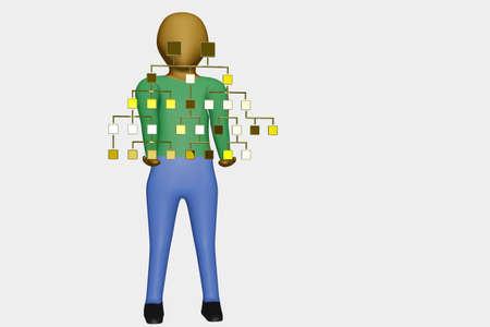 Man holds family tree, 3D illustration Stock fotó