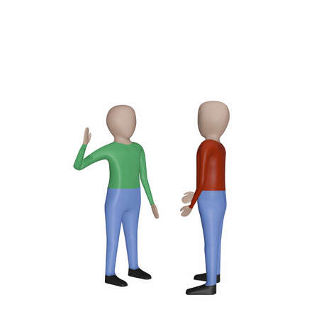 Two males are talking, 3D illustration