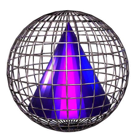 Geometric shapes as a grid, 3D illustration