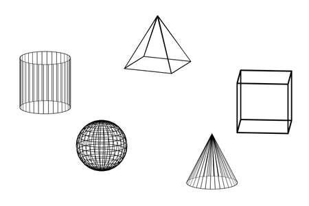Geometric shapes as a grid, 3D illustration