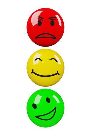 Colored smileys arranged as traffic lights, 3D illustration