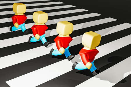 Character are running in single file over the crosswalk, 3D illustration