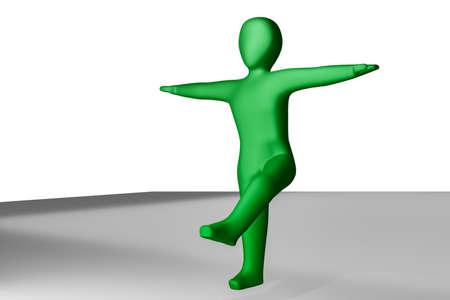 Character balancing on one leg, 3D illustration Stock fotó