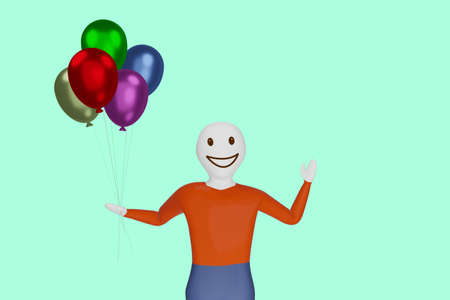 Character with air balloon, 3D illustration