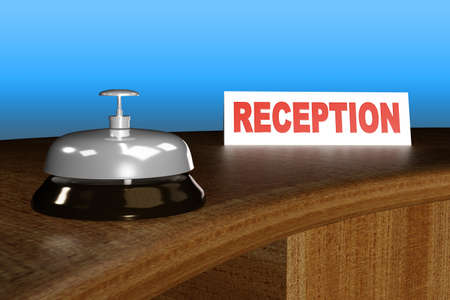 Reception of a hotel with a bell, 3d illustration