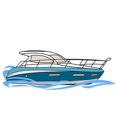 drawn motorboat in the water, illustration