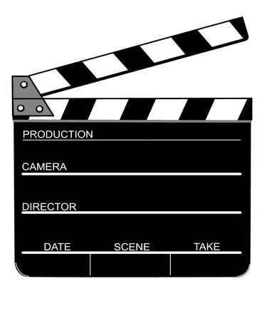 drawn and opened clapperboard, illustration