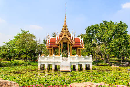 ix: thai pavilion in lotus pond at Suanluang RAMA IX Stock Photo