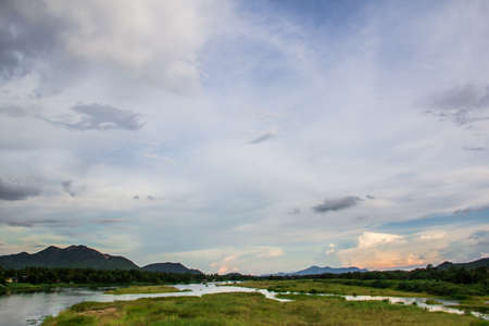 background of mountain and river with sky