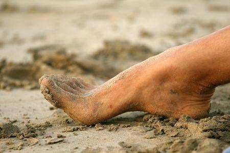 Fuß im Sand am Strand in der Karibik Standard-Bild - 2317884