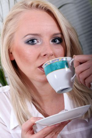 assistent: Business assistent has coffe break Stock Photo