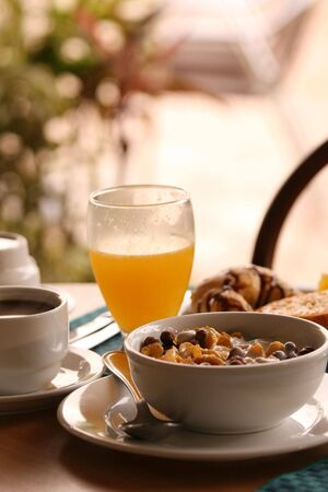 Breakfast with coffee, orange juice and cereals Stock Photo - 2366884