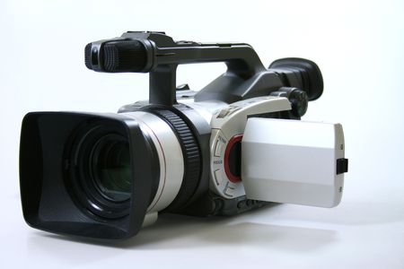 professional camcorder on the white background