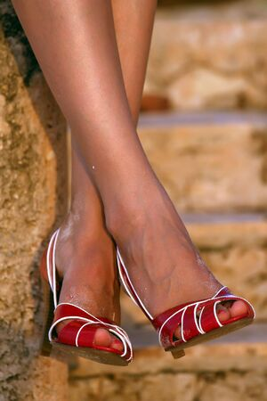 close-up of female legs and high heels Stock Photo - 3848485