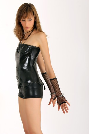 woman with handcuff in patent leather look