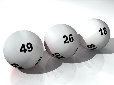 loteria: Tres bolas de loter�a en el suelo Foto de archivo