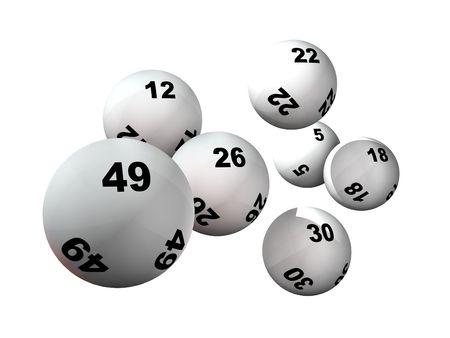 Los números de la lotería y ganar pelotas Foto de archivo