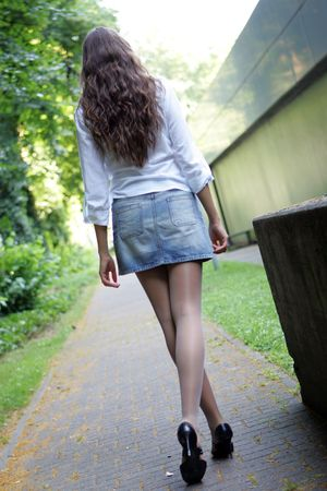 Girl walking away the camera