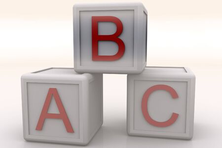 plaything: Rendered ABC Cubes Stock Photo